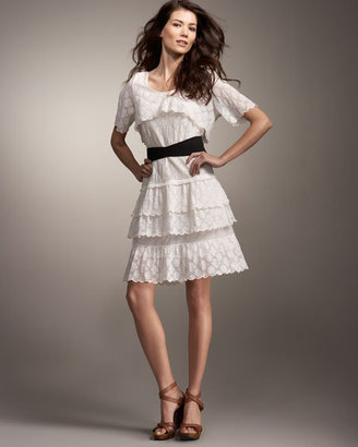 See by Chloe Belted Lace Ruffle Dress