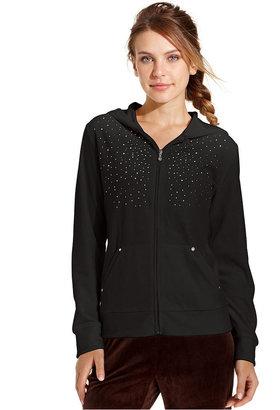 Style&Co. Sport Jacket, Long-Sleeve Hooded Studded Velour