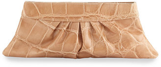 Lauren Merkin Louise Ruched Leather Clutch, Tan