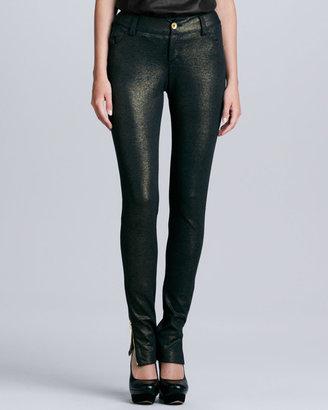 Alice + Olivia Long Ankle-Zip Denim Skinny Pants