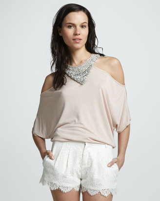 Haute Hippie Pleated Lace Shorts