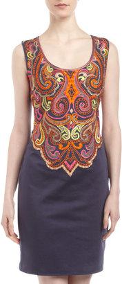Muse Embroidered Sheath Dress, Orange Multi
