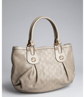Gucci cement guccissima leather pleated satchel