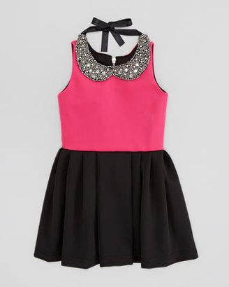 Zoe Knit Box-Pleat Dress with Jewel-Collar, Pink/Black, Sizes 8-10
