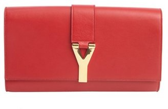 Saint Laurent red leather 'Y' buckle detail clutch