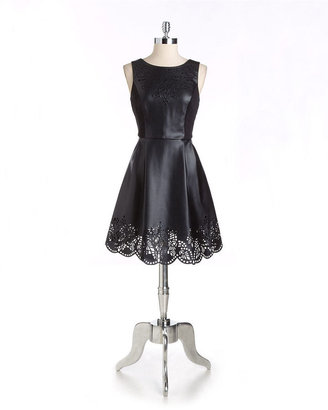 Betsey Johnson Laser-Cut Faux-Leather Dress