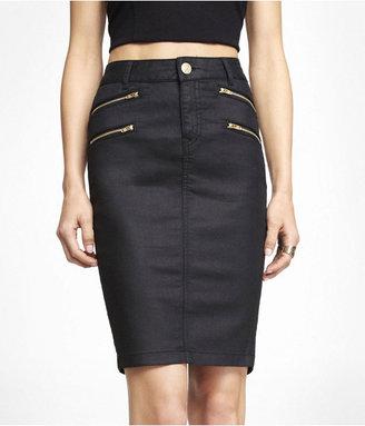 Express High Waist Coated Denim Pencil Skirt
