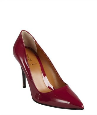 Fendi rose patent leather point toe stacked heel pumps