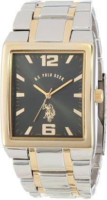 U.S. Polo Assn. Classic Men's USC80029 Two-Tone Rectangular Black Dial Link Watch