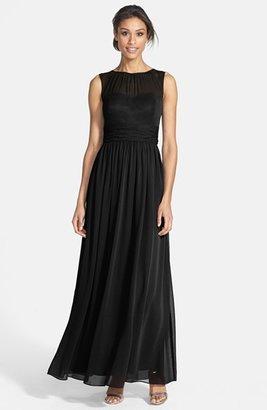 Eliza J Illusion Yoke Chiffon Gown