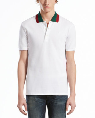 Gucci Pique Polo with Green/Red Collar