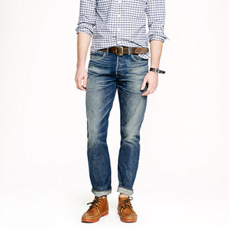 J.Crew Wallace & Barnes slim selvedge jean in drydock worn wash