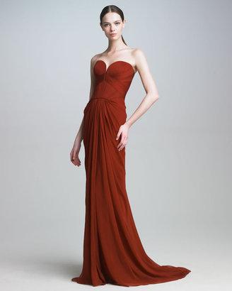 J. Mendel Silk Mousseline Strapless Gown