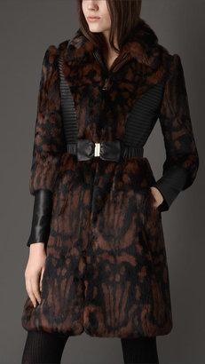 Burberry Printed Fur Coat