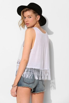 Urban Outfitters Tela Embroidered Fringe Tank Top
