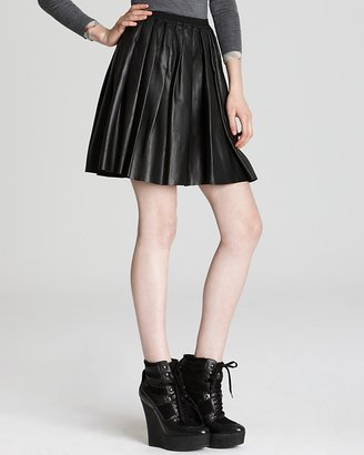 Burberry Leather Pleated Skirt