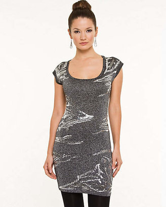 Le Château Metallic Knit Scoop Neck Tunic