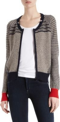 Lutz And Patmos Contrast Cuff Patterned Cardigan