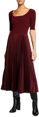 Theory Boat-Neck Pleated Skirt Midi Dress