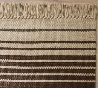 Pottery Barn Dennis Stripe Recycled Yarn Indoor/Outdoor Rug - Brown
