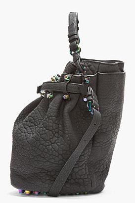 Alexander Wang Black Rubberized Leather Iridescent Diego Bucket Bag