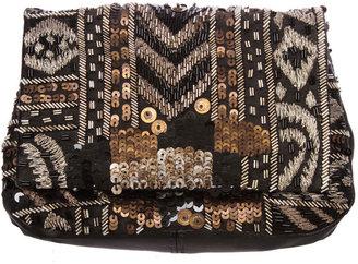 Deepa Gurnani Beaded/Sequin Flap Pouch Clutch