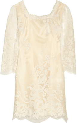Anna Sui Lace-appliquéd mesh and satin dress