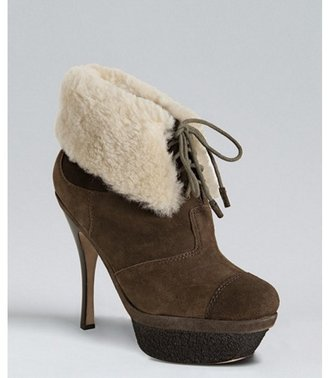 L.A.M.B. brown suede 'Pier' shearling ankle booties