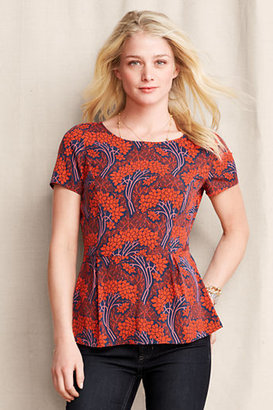 Lands' End Women's Button Back Peplum Top