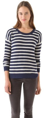 Madewell Striped Pullover with Elbow Hearts