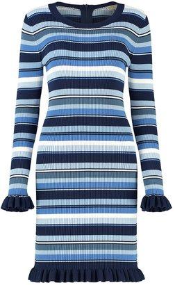 MICHAEL Michael Kors Striped Ribbed Knit Ruffle-trim Dress