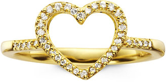 JCPenney FINE JEWELRY 1/10 CT. T.W. Diamond 14K Gold-Plated Mini Heart Ring