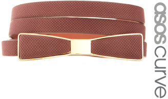 Asos Bow Waist Belt With Metal Plate Detail