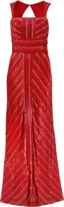 Naeem Khan Chevron Deco Bead Gown