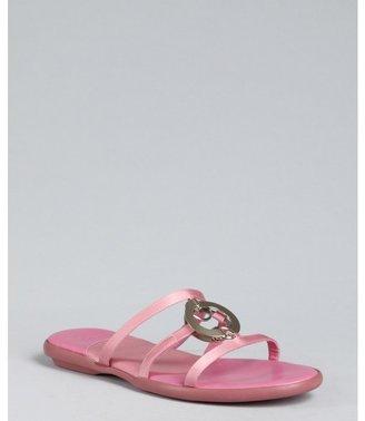Hogan pink satin half circle link sandals