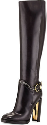 Salvatore Ferragamo Nadix Harness-Strap Knee Boot, Dark Gray