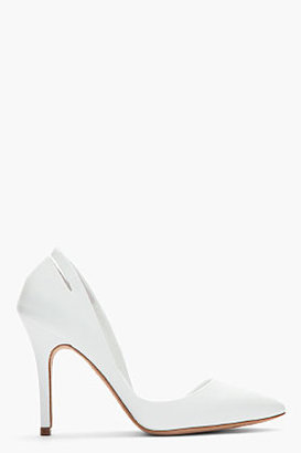 McQ by Alexander McQueen White Leather Slashed Half-d'Orsay Pumps