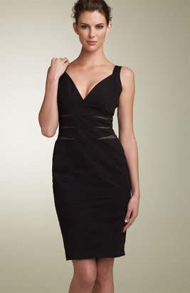 Maggy London Jersey Sheath Dress with Sheer Side Insets