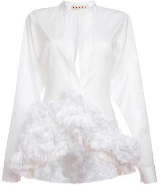 Marni Diamante Cotton Voile Long Sleeve Blouse