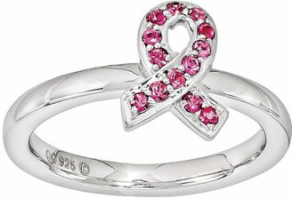 Swarovski Stacks & Stones Sterling Silver Pink Crystal Breast Cancer Awareness Ribbon Stack Ring - Made with Crystals