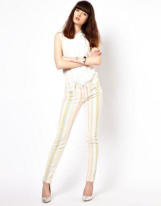 J Brand Candy Stripe Mid Rise Skinny Jeans