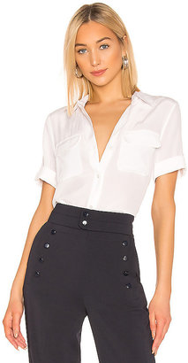 Equipment Slim Signature Short Sleeve Blouse in White $198 thestylecure.com
