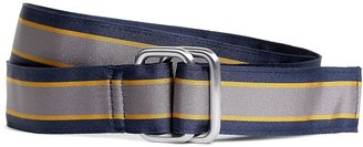 Brooks Brothers Navy, Yellow and Grey Striped Ribbon Belt