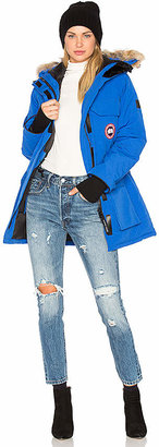Canada Goose Polar Bear International Expedition Parka with Coyote Fur Trim in Blue $1,045 thestylecure.com