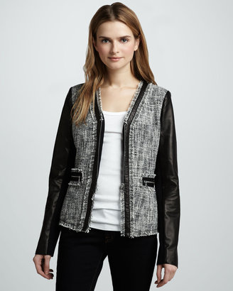 Rebecca Taylor Leather-Sleeve Tweed Jacket