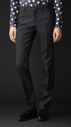 Burberry Skinny Fit Textured Stripe Trousers