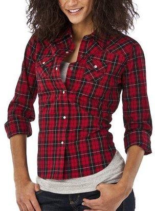 Mossimo Juniors Plaid Boyfriend Shirt - Red/Black