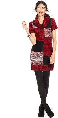Elementz Colorblock Cowl-Neck Sweater Dress
