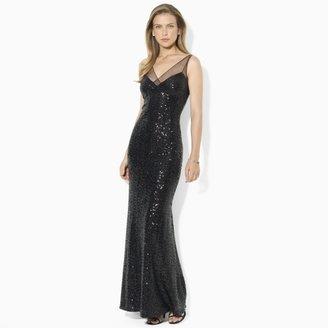 Ralph Lauren Sleeveless Sequined Mesh Gown