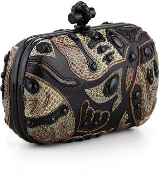 Bottega Veneta Knot Butterfly Snakeskin Clutch Bag